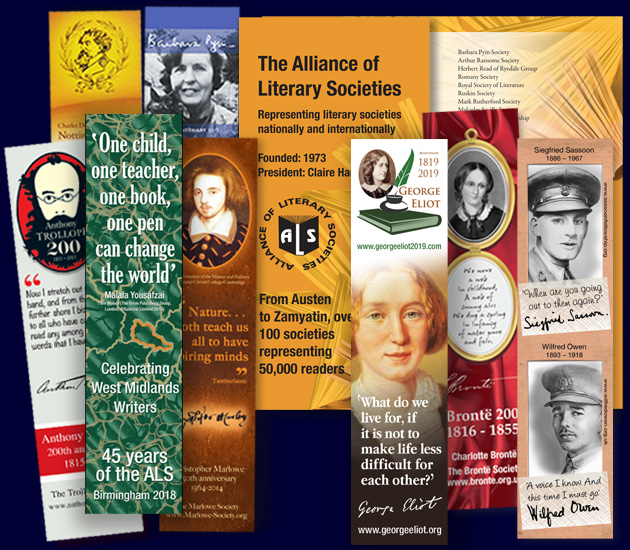 Alliance of Literary Societies bookmarks and branding